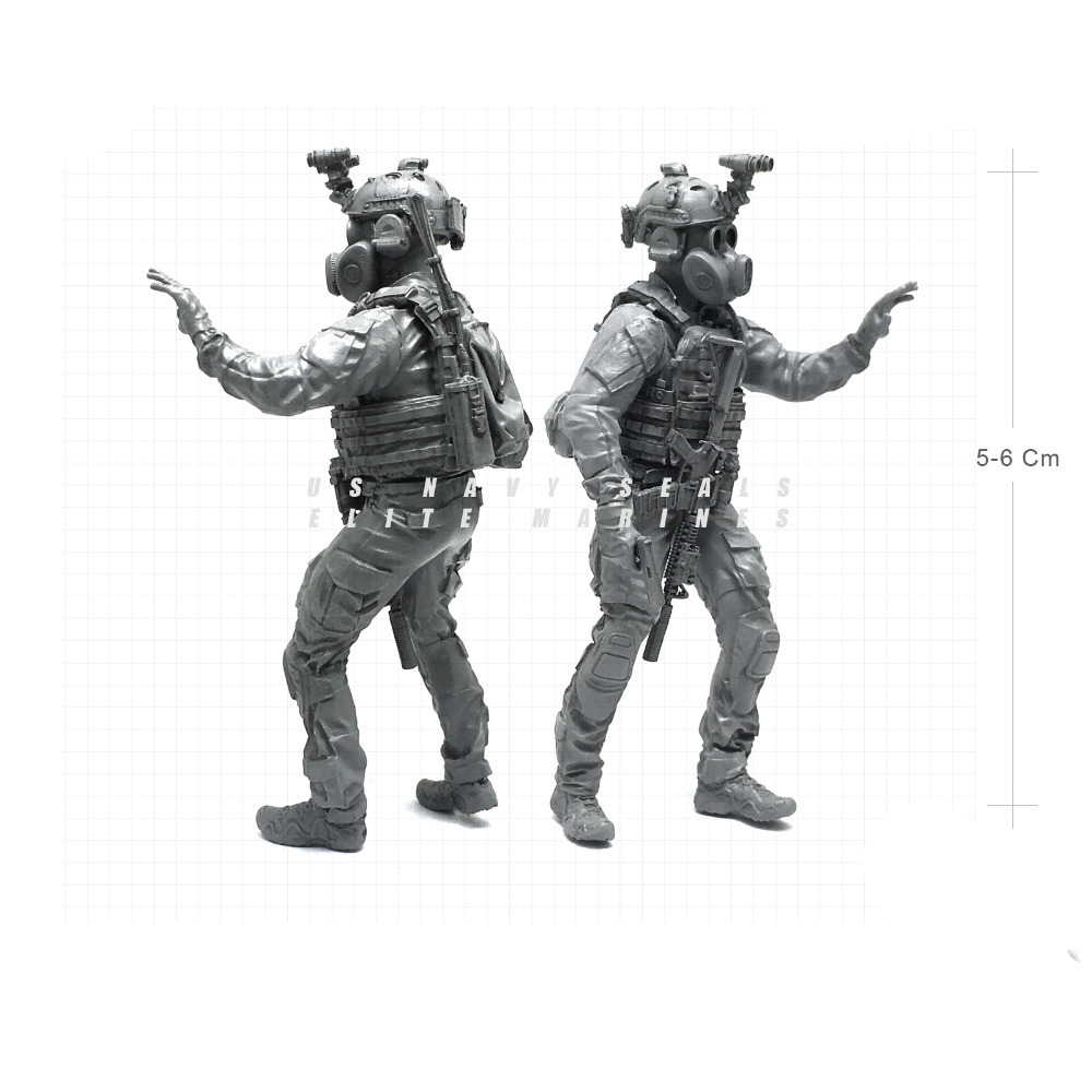 1/35 Modern U.S Navy Seals Elite Marines Gas Masks Military Soldier Resin Model Figure NAI-16