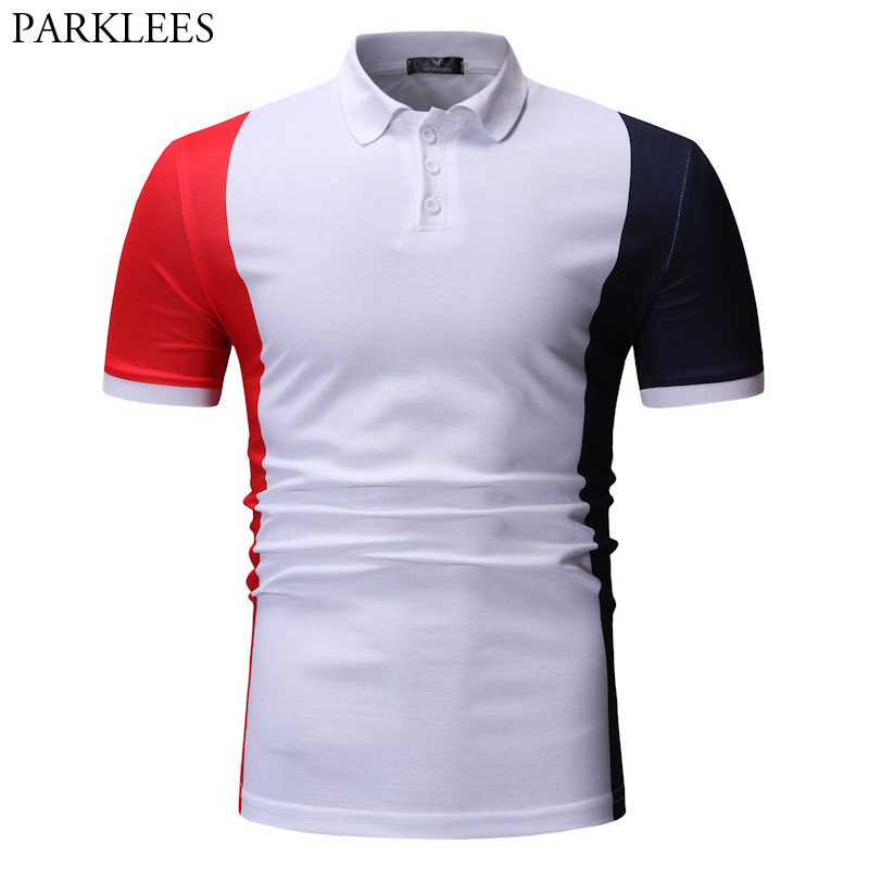 2019 Hit Color Patchwork   Polo   Shirts Men Casual Slim Fit Short Sleeve Male Business Work   Polo   Fashion Sports Wear   Polo   Homme 3XL