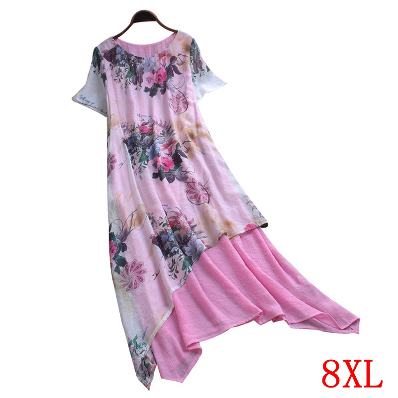 Large <font><b>size</b></font> women's dress <font><b>plus</b></font> <font><b>size</b></font> <font><b>5XL</b></font> <font><b>6XL</b></font> <font><b>7XL</b></font> <font><b>8XL</b></font> summer elegant round neck short sleeve loose casual large <font><b>size</b></font> pink robe image