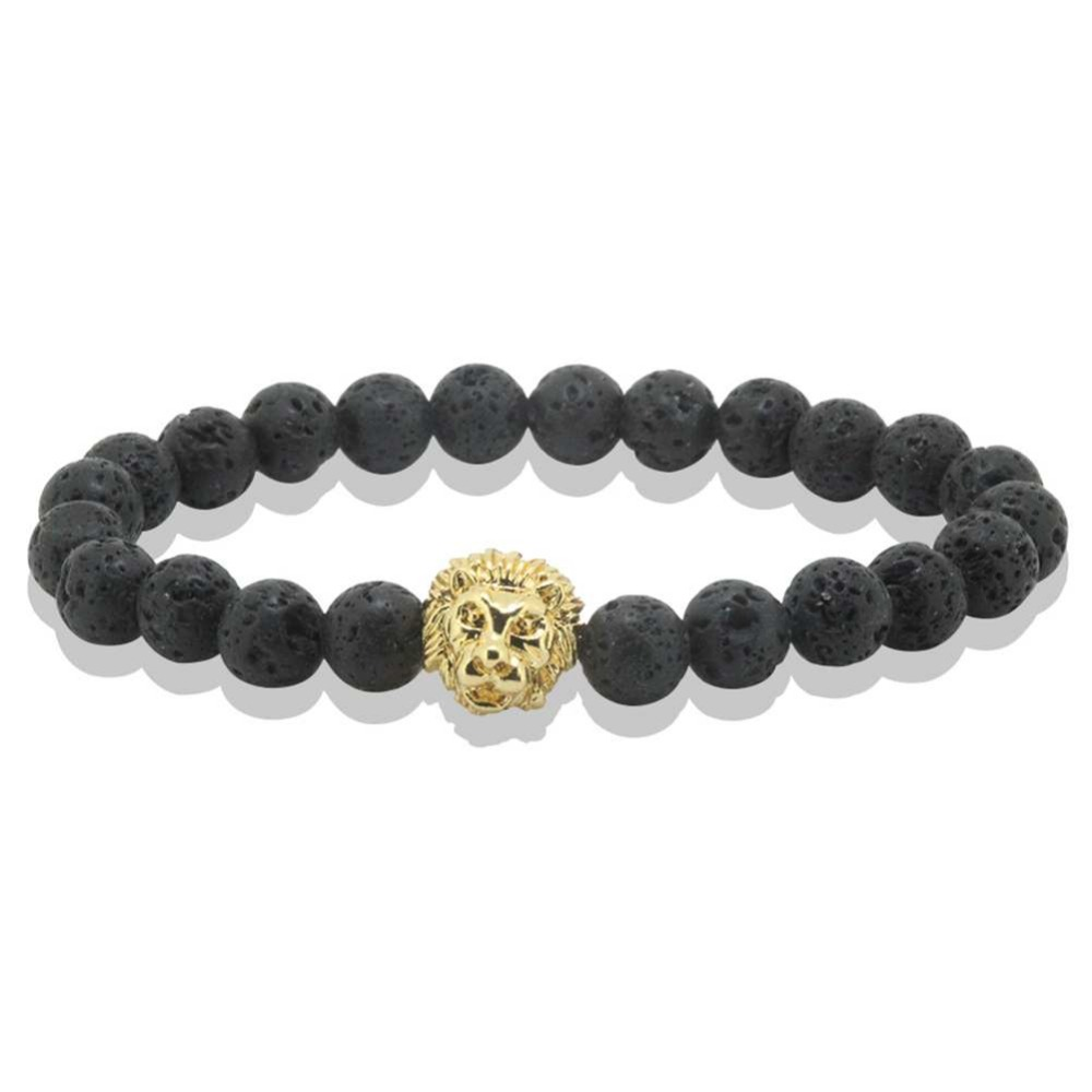 Antique 24K Leo Lion Head font b Bracelet b font Men Black Rock Lava Stone Beads