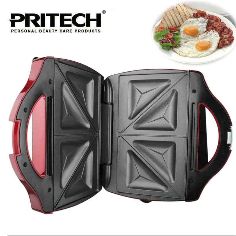 цена PRITECH Electric 2 Slice Sandwich Maker Household Baking Pan Waffle Machine Non Stick Coated Plate For Easy Clean онлайн в 2017 году