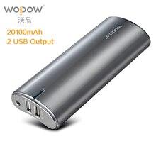Wopow Power Bank 20000 мАч pover Bank Мобильный телефон Мощность Dual USB Комплекты внешних аккумуляторов быстро Зарядное устройство для Xiaomi Мощность банк