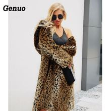Genuo Leopard Print Faux Fur Coat Women Loose Fashion Winter Warm Thicken Overcoat Plus Size Long Top Quality