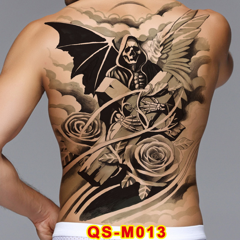 Us 3 02 25 Off 1pc Full Back Large Tattoo Stickers 20 New Design Skeleton Skull Demon Wings Temporary Flash Tattoos Body Paint Cool Men 48 34cm In