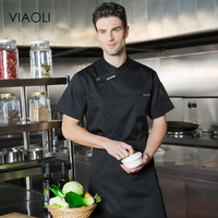 VIAOLI High Quality Chef Uniforms Clothing Short Sleeve Men Food Services Cooking Clothes 8 Color Big