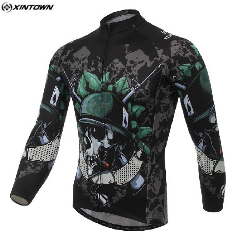 Hot Men Bike Long jersey Skeleton Soldier Pro Team Cycling clothing Riding Top MTB Ropa Ciclismo Wear Maillot Long Sleeve Shirts