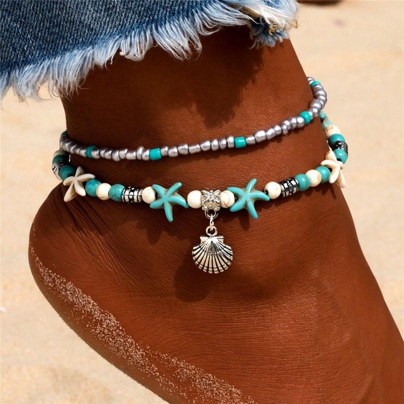 Grânulos de concha do vintage starfish tartaruga tornozeleiras para mulher artesanal frisado tornozelo pulseira pé jóias cheville femme