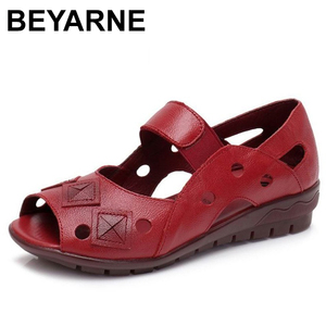 Image 2 - BEYARNE 2019New Spring Summer Wedges Sandals Women Hollow Casual Women Shoes Genuine Leather Sandals Woman Peep Toe Big SizeE334