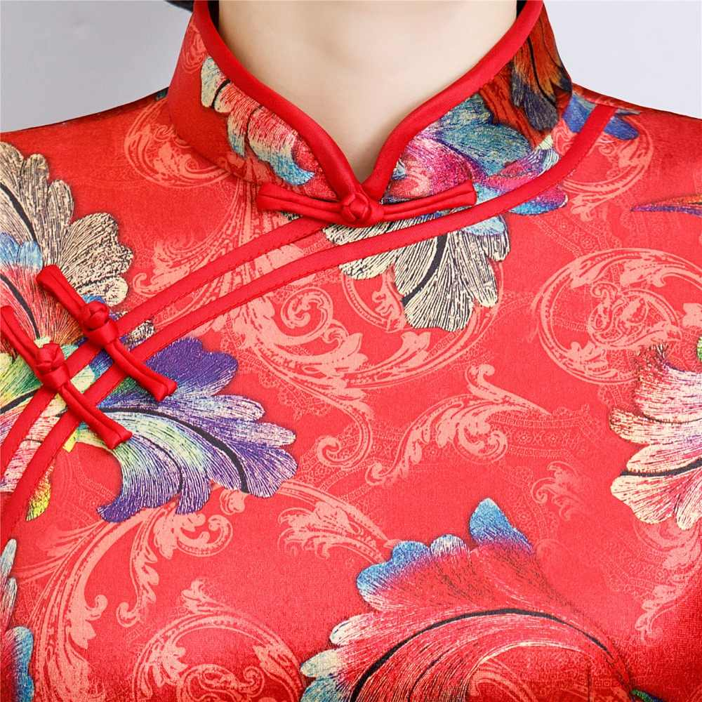 上海ストーリー冬ベルベット中国ドレス長袖袍中国の伝統的なドレスの女性のチャイナ
