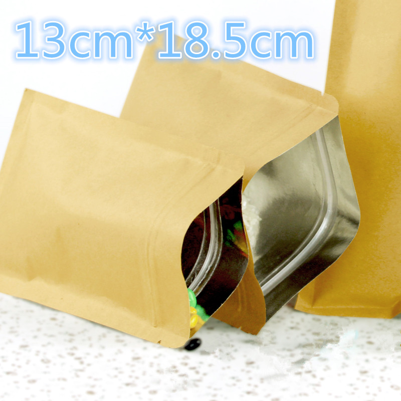 50Pcs/Lot 13*18.5cm (5.1*7.3) Kraft Paper Aluminum Foil Food Storage Pack Bag For Coffee Powder Bean Package Zipper Lock Pouch