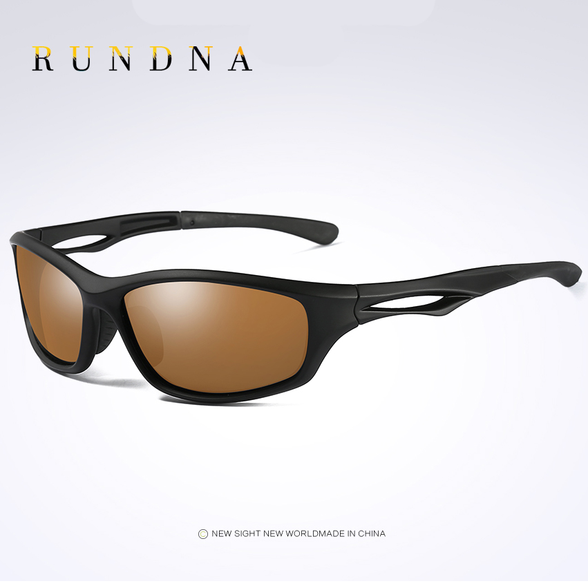 RUNDNA TR90 Leightweight Polarized Sports Sunglasses Outdoor Riding Bike Bicycle Cycling Sunglasses TR90 Black Frame Brown Lens