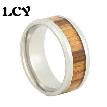 KOA Wood Ring Stainless Steel Rings Inlaid EBONY Men Jewelry Vintage Rvs Ringen Voor Vrouwen Bague Anillos Anel Masculino