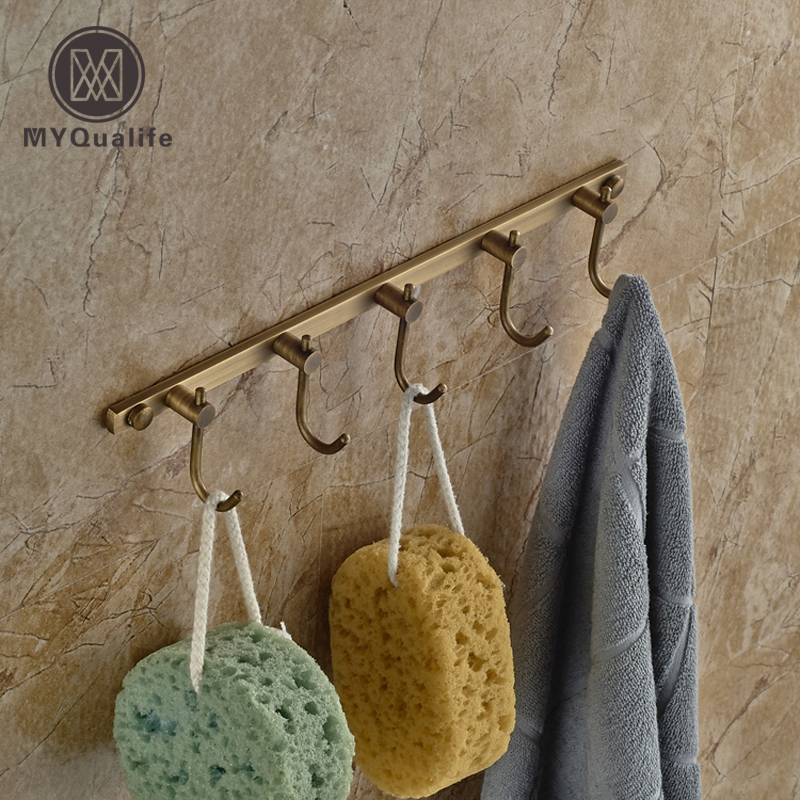 Antique Brass Wall Mounted Brass Hooks Towel Clothes Hanger Bathroom Kitchen Rack Free Shipping
