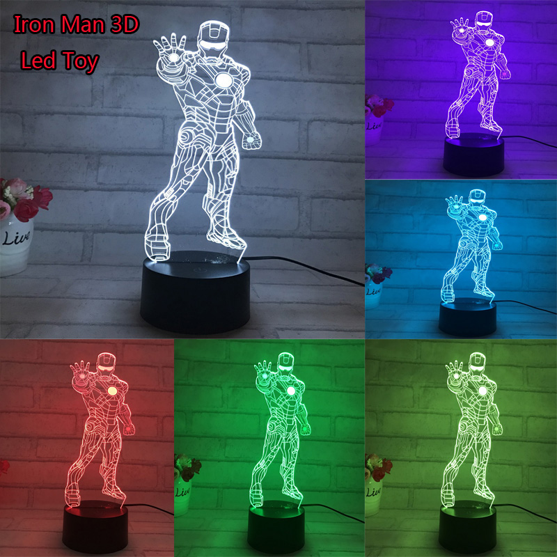 Hot Movie Iron Man 3D Led Light Anime Model Toys Iron Man Standing Pose 7 Color Changeable Light Jouet Birthday Toy Gift appearance based 3 d object recognition and pose estimation