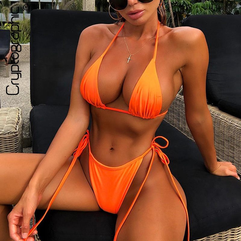 Cryptographic Neon Fashion Women's Sets Lace Up V-Neck Halter 2019 Summer Swimwear Sexy Backless Outfits Two Pieces Set