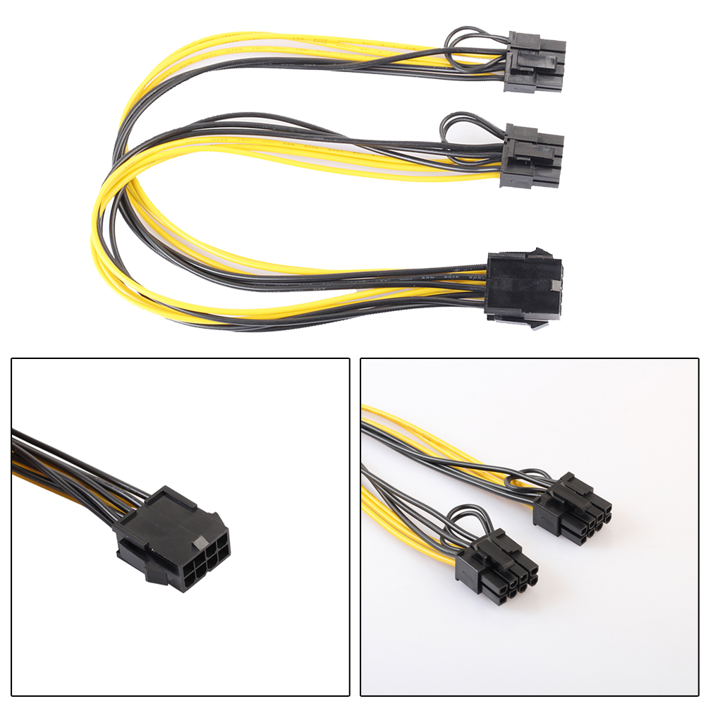 8Pin Pcie to Graphics Video Card Double PCI-E PCIe 8Pin ( 6Pin + 2Pin ) Power Supply 18AWG Wire Splitter Cable Cord 25cm 6pcs lot dual double port pci e pcie pci express 8pin graphics video card diy power flat cable cord 18awg 8pin 8pin