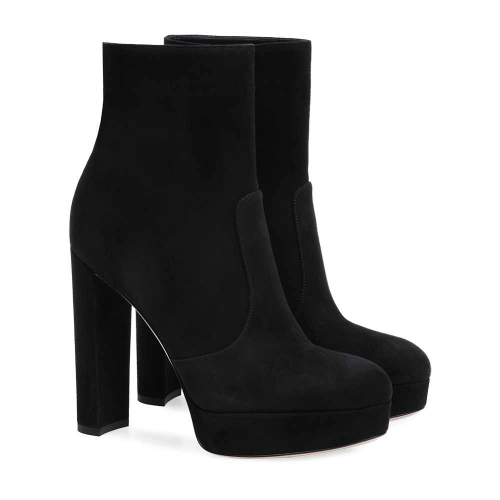 50ee0fdcf39 Women Black Faux Suede Platform Chunky Heel Ankle Boots Round Toe High Heel  Booties Ladies Winter Short Boots with Zipper 2018