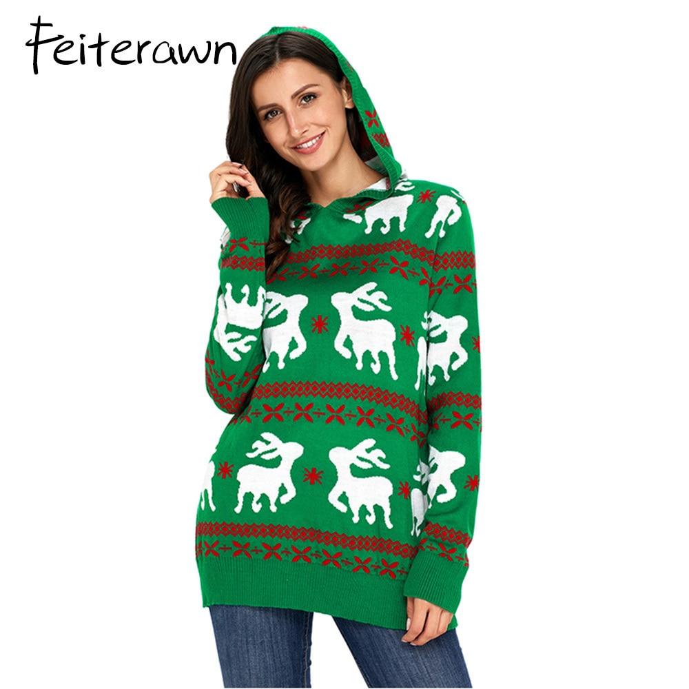 FeiterawnCute Reindeer Knit Green Sweater Popular Women Designful Christmas Pullover Warm Winter Outerwear Tops