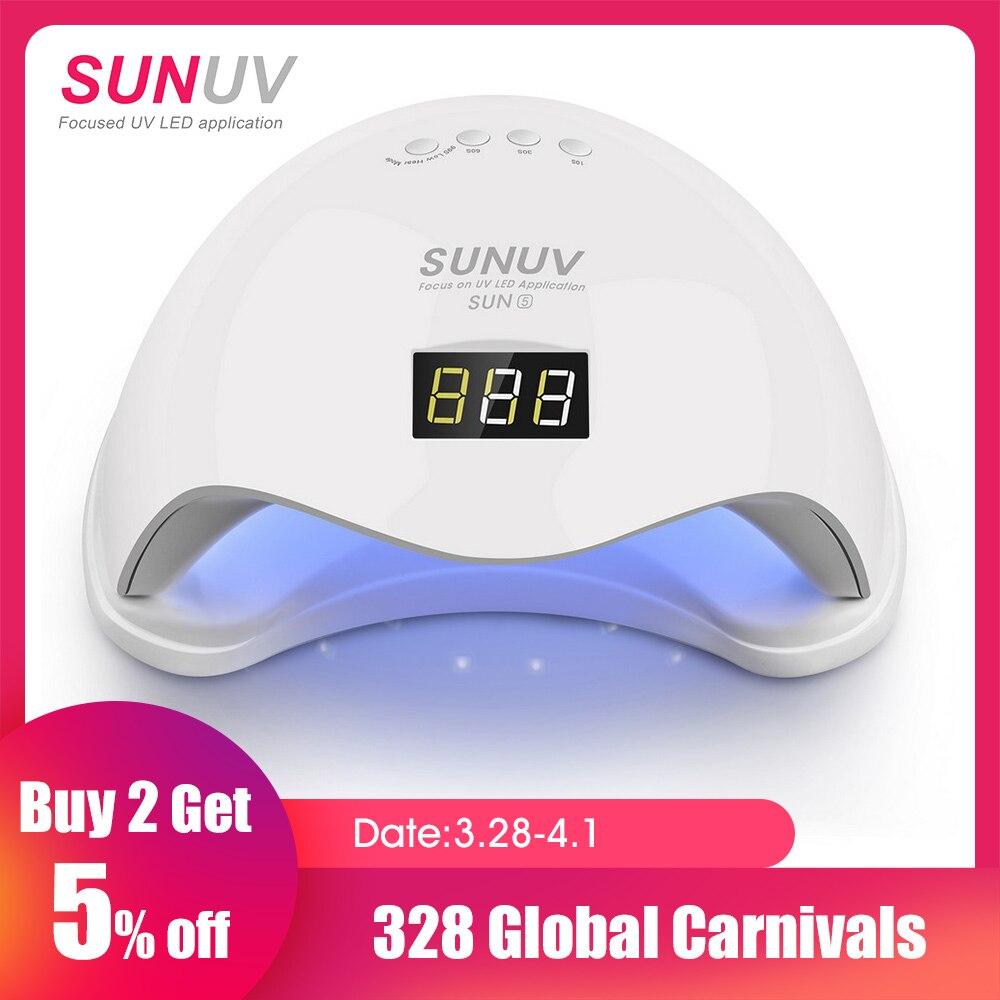 SUNUV SUN5 48 W Dual UV lámpara LED de uñas secador de uñas de Gel polaco Luz de curado con fondo 30 s/ 60 s temporizador pantalla LCD