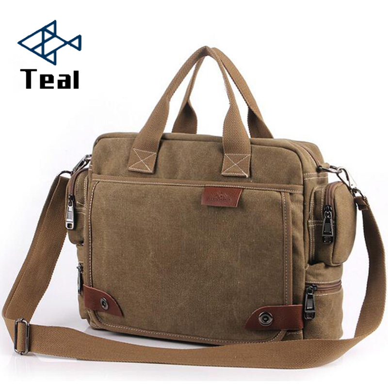 Handbags Briefcase-Bag Shoulder-Bag Canvas Business Retro Vintage Large Men's Brand Multifunction