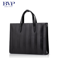 BVP High End Men Genuine Leather Laptop Briefcase Business Casual Handbag Tote Attache Black Fashion T1023
