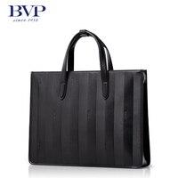 BVP High End Men Genuine Leather Laptop Briefcase Business Casual Handbag Tote Attache Black Fashion T1023