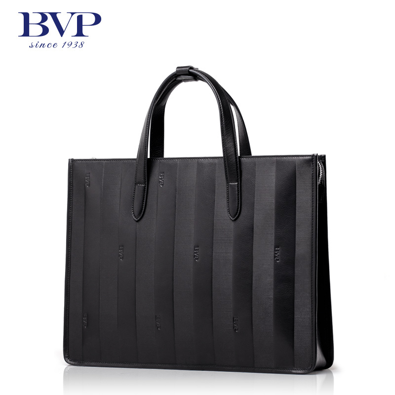 BVP Hot Men Luxury Brand 100% Genuine Leather Briefcases Business Zipper Black Handbag 15 Laptop Portfolio Bag T1023 натурелла прокладки ультра нормал календула 10шт