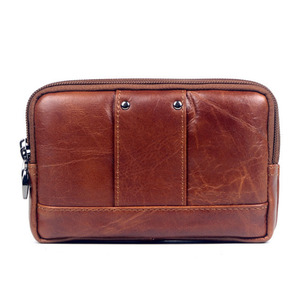 Image 2 - New Men Leather Cowhide Vintage Travel Cell Mobile Phone Case Cover Belt Pouch Purse Fanny Pack Waist Bag