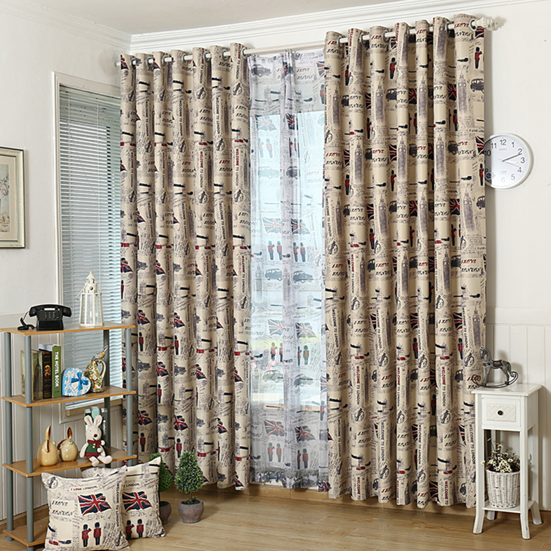 Ready made vintage london style curtains for living room for Space curtain fabric