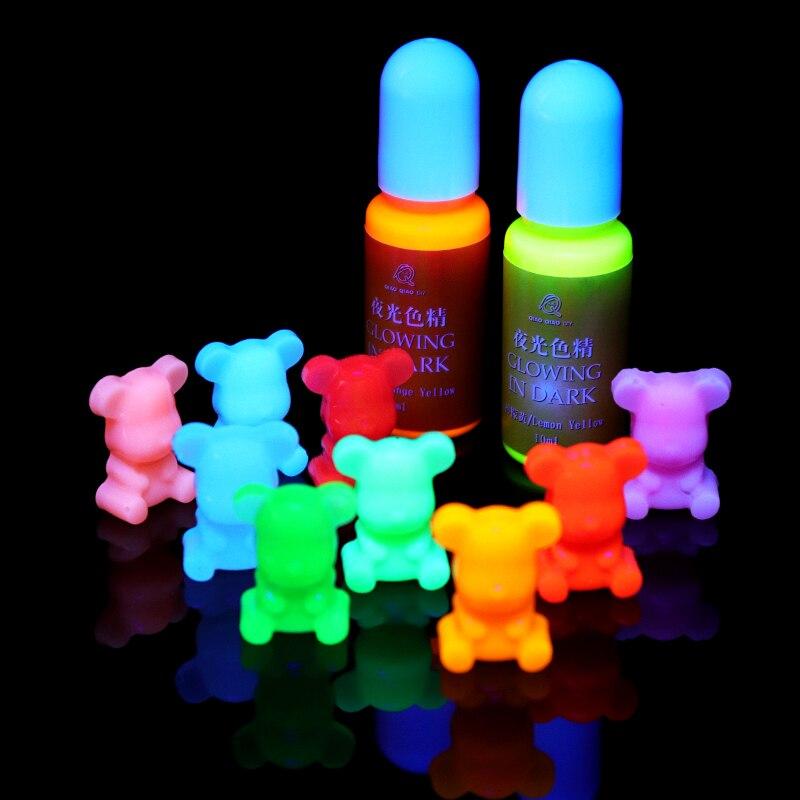 10 pçs brilhando no escuro alta concentração de cola epoxy resina uv coloração corante pigmento artesanal diy jóias fazendo acesso