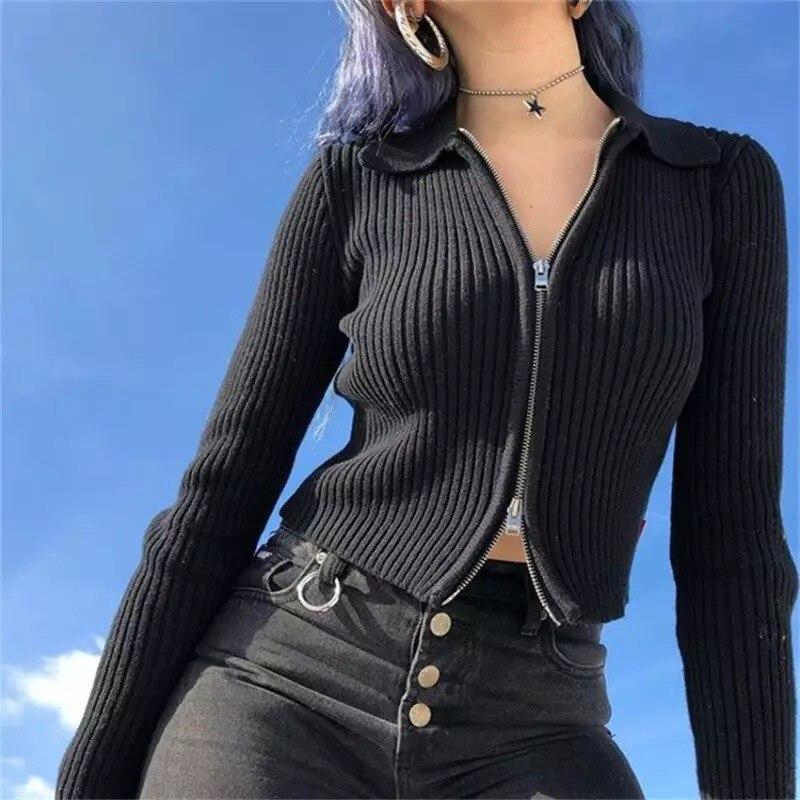 Streetwear unif סוודרים סרוגים נצנצים קרדיגן ארוך שרוול קדמי רוכסן שחור harajuku סוודר חולצות קרדיגן חורף בגדים