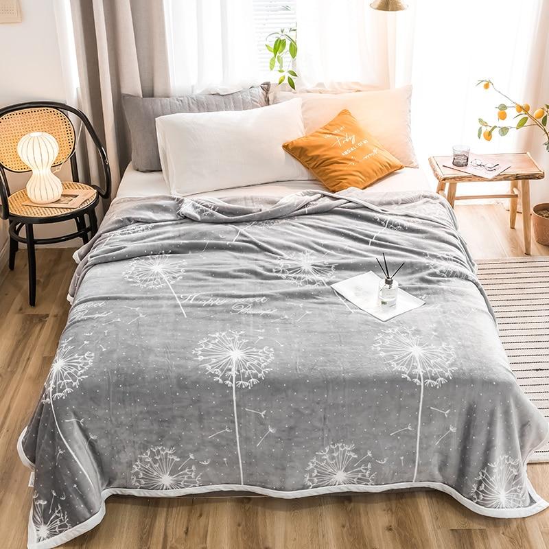 Dandelion High Quality Thicken Plush Bedspread Blanket 200x230cm High Density Super Soft Flannel Blanket  For The Sofa/Bed/Car