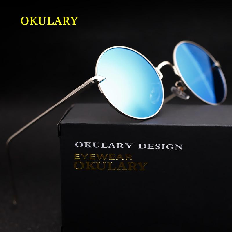2018 Yeni Yuvarlak Kadınlar Polarize Güneş Gözlüğü Mavi/Pembe/Gümüş UV400 ayna lens Gözlük Kutusu, Kutu