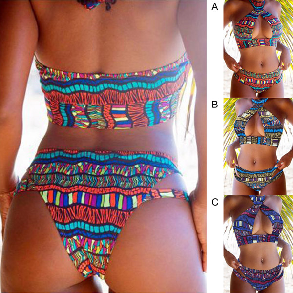 Women Tops with Pants Bikini Suit Print Backless High Elastic Fast Dry Swimsuit for Summer YS-BUY 1