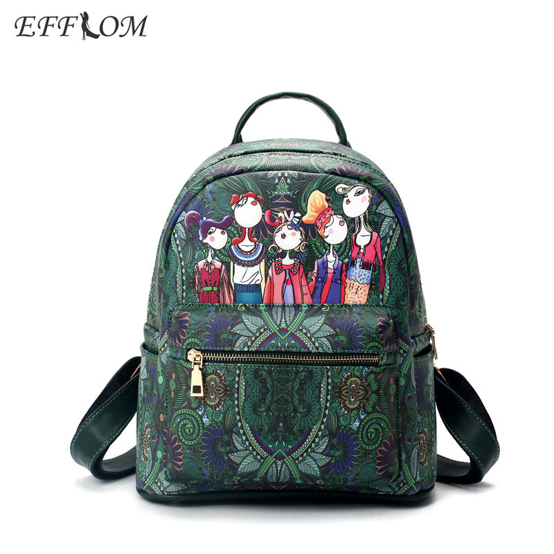 Korean Women Leather Backpack Fashion Printing School Bags Backpacks For Teenage Girls Designer Cartoon Rucksacks Travel