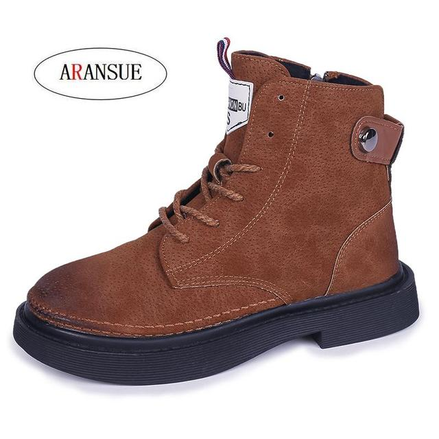 ARANSUE new arrival basic women ankle boot lace up fashion autumn winter shoes resisting martin boots for female Bottes