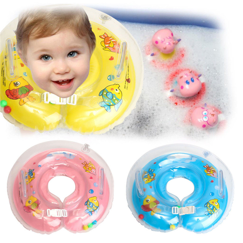 Inflatable Newborn Swimming Neck Swimming Pool Accessories Circle Baby Float Ring Infant Bath Safety Aid baby swimmig ring non inflatable armpit child swimming equipment 1 6 old baby shoulder ring arm circle swimming pool accessories