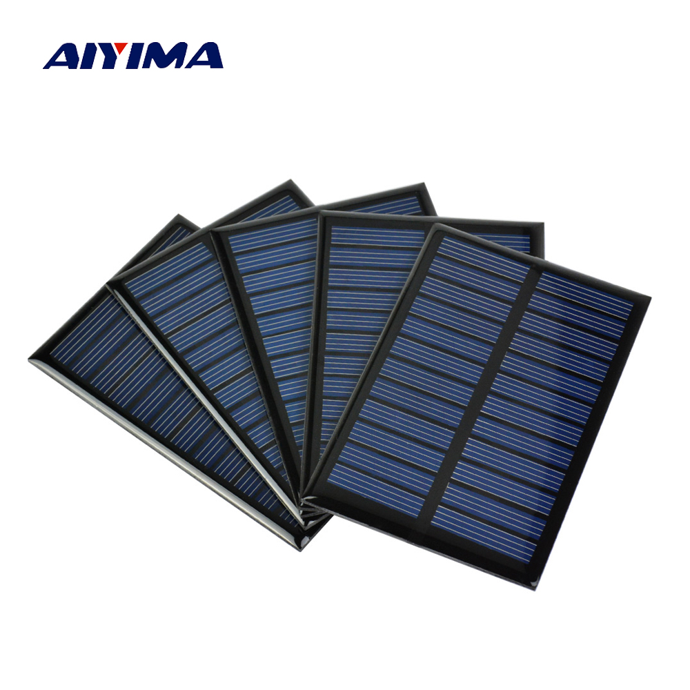 AIYIMA 5Pcs 6V 100mA 0.6W Solar Panel A Grade Polycrystalline Silicon Solar Charger The Phone Charger Photovoltaic Cell 90*60mm