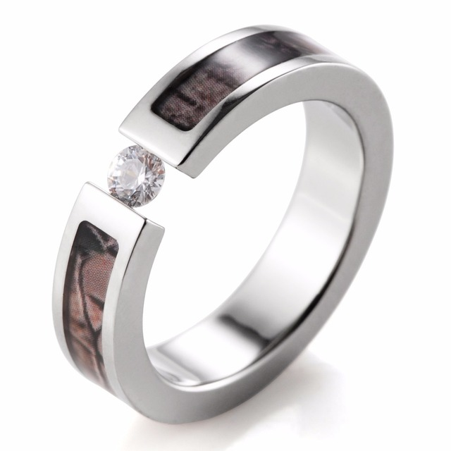 Fashion Women Ring Anium Tension Set Cz Crystal Real Tree Camo For Engagement Wedding