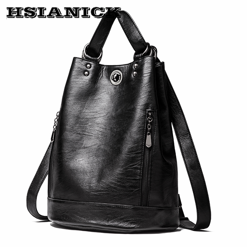 Female Shoulder bag 2018 new arrival fashion bucket soft leather design backpack bag casual mommy backpack dual-use backpack 2017 new arrival leather backpack casual bags