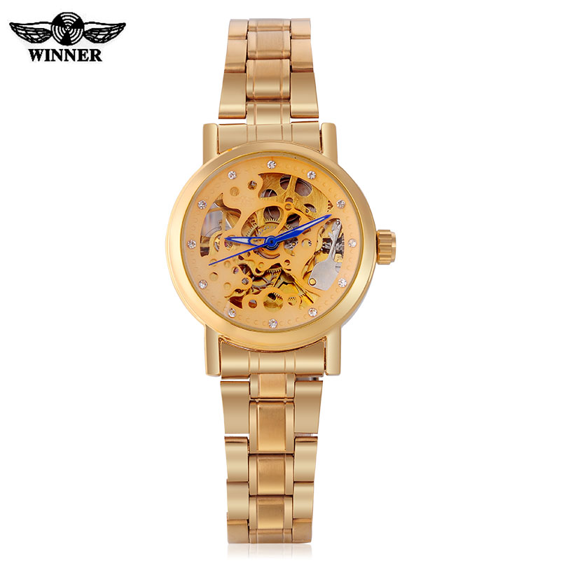2016 WINNER watches women lady fashion brand rhinestone skeleton automatic mechanical wrist watch full gold steel female clock mce luxury fashion gold watch women high quality skeleton mechanical watch full stainless steel water resistant wrist watches