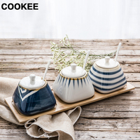 Ceramic Bamboo Kitchen Seasoning Cans Suit with Spoon Sauce Pot Dish Suits Spice Pepper Shakers Salt Pigs Spice Bottles