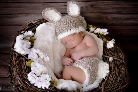 d6ecc2ccd2bc Baby Bunny Hat and Diaper Cover Crochet Set Perfect for Newborn ...