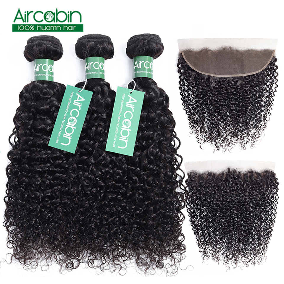 Kinky Curly 3 Bundles with Frontal Closure Brazilian Hair with Ear to Ear Lace Frontal AirCabin