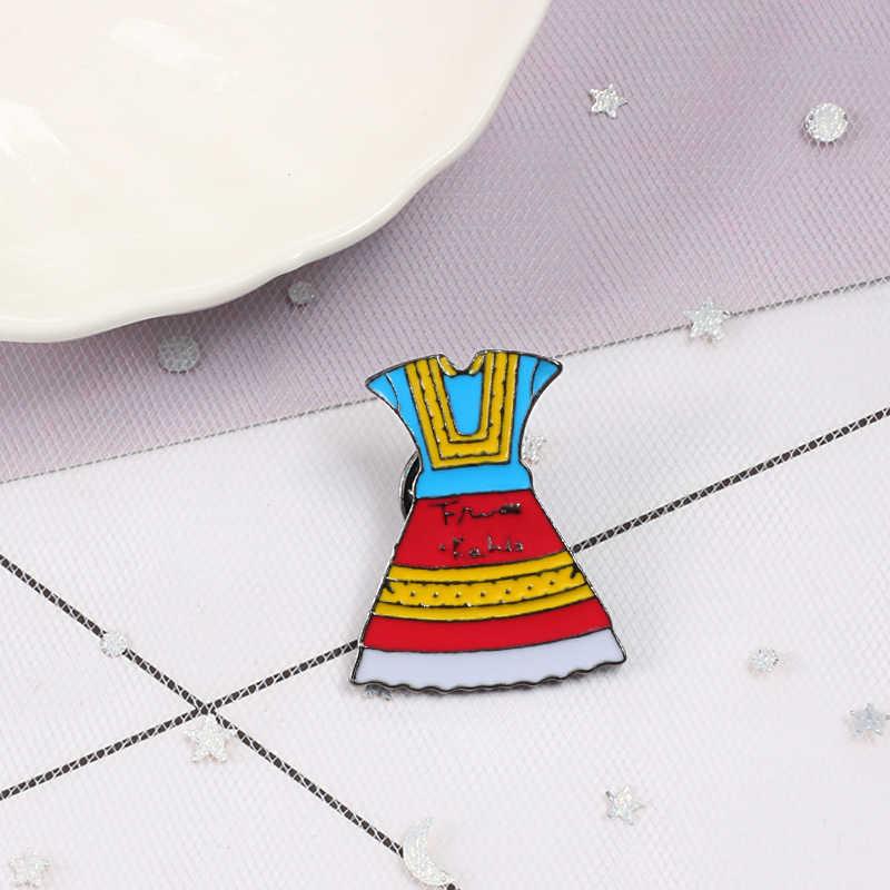Модный эмалированный значок-булавка с героями мультфильмов икона девушка юбка еда Гамбург Броши женская рубашка с лацканами Заколки ювелирные аксессуары подарок