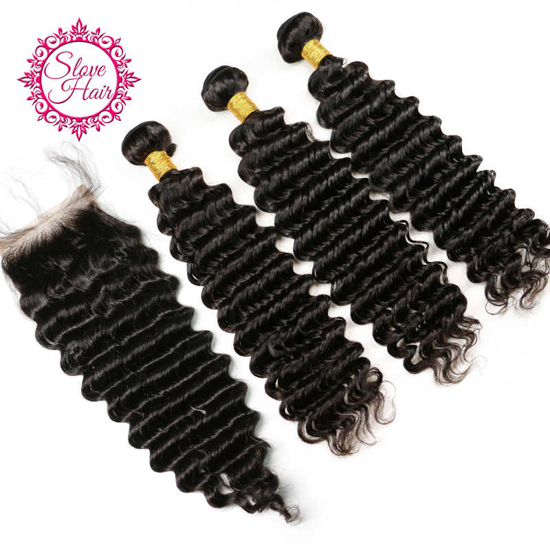 Human Hair Bundles With Closure Remy Brazilian Deep Wave Hair Weave Bundles Extension Buy 3 Bundle Salon Pack Get Lace Closure