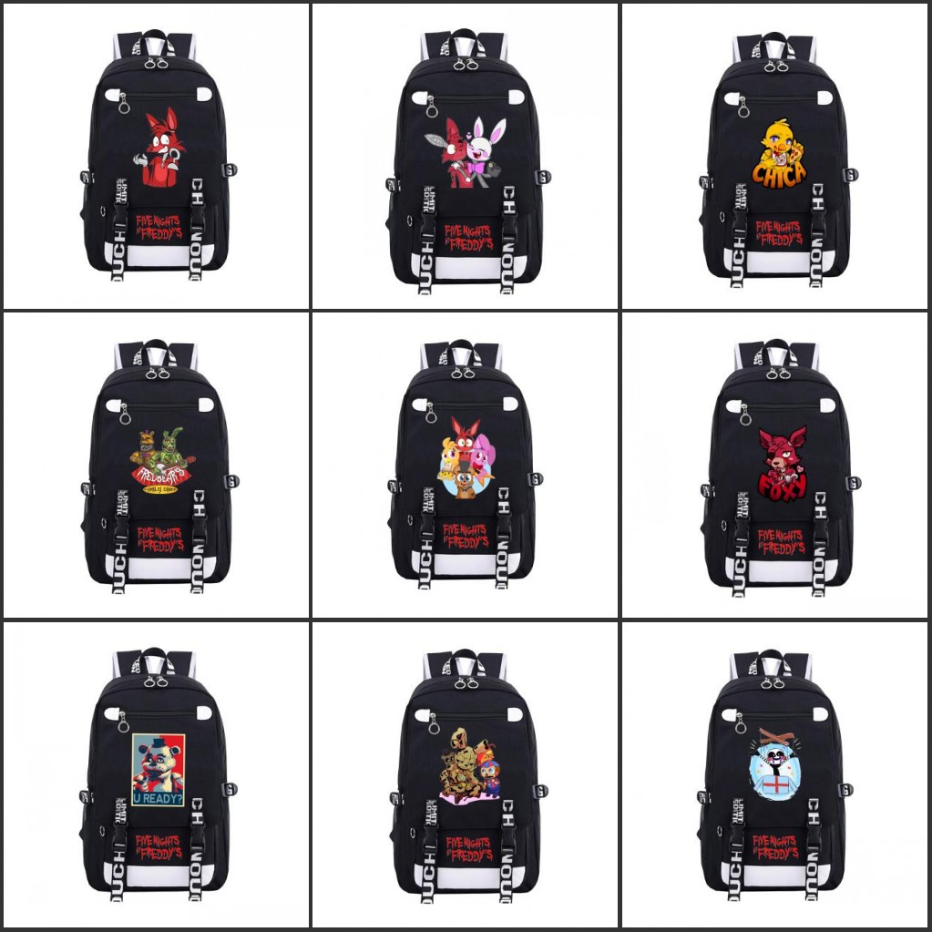 Newtal Five Nights At Freddy's Freddy Cartoon Backpack Man Chica Foxy Bonnie FNAF Rucksack Shoulders Bag Casual Travel Bag Gift