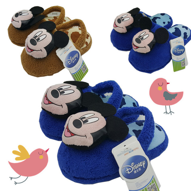 2016 Winter boys cartoon mickey cotton sandals children's warm indoor slippers kids footwear flip flop home shoes16O101