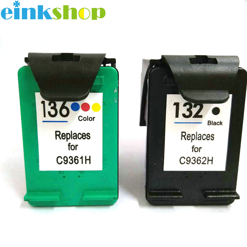 Einkshop 132 136 compatible Ink Cartridge for hp 132 136 Officejet 6213 5443 D4163 PSC1513 for hp 136 Photosmart 6540 6543 6548 in Ink Cartridges from Computer Office
