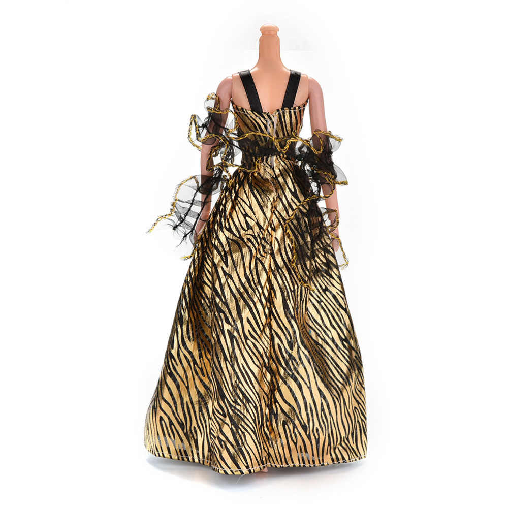 Dorato della moda Della Signora Della Banda di Fantasia Bambola Vestiti Fatti A Mano Del Partito di Vestito di Modo Del Vestito Per Barbie Doll di alta qualità